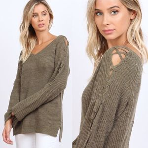 Sweaters - Olive Loose Lace Up Cozy Sweater
